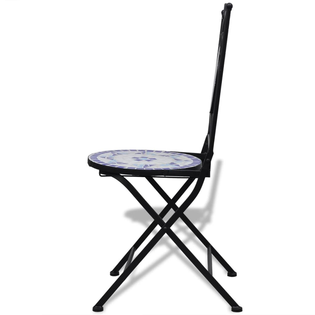 Vidaxl Mosaic Bistro Table 60 Cm With 2 Chairs Blue