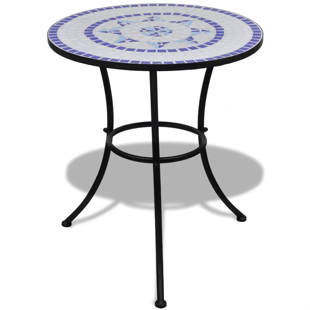 mosaik bistrotisch 60 cm mit 2 st hlen blau wei 41530 41531 2 10. Black Bedroom Furniture Sets. Home Design Ideas