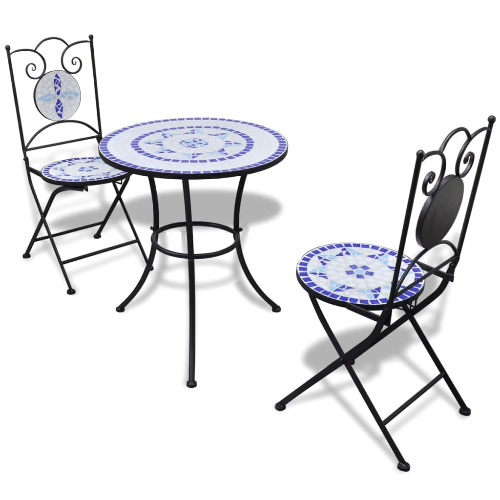 vidaxl mosaic bistro table 60 cm with 2 chairs blue white. Black Bedroom Furniture Sets. Home Design Ideas