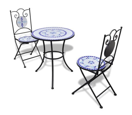 vidaxl mosaik bistrotisch 60 cm mit 2 st hlen blau wei g nstig kaufen. Black Bedroom Furniture Sets. Home Design Ideas