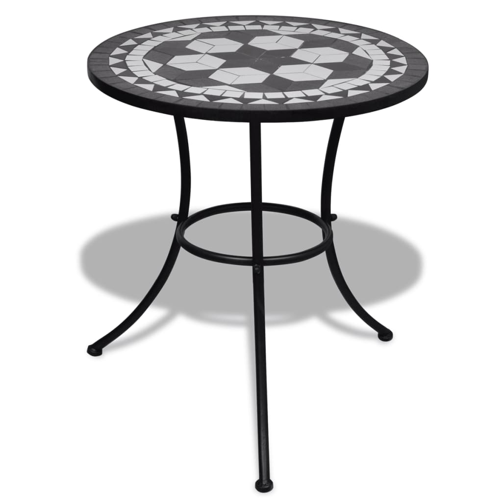 vidaxl mosaik bistrotisch 60 cm mit 2 st hlen schwarz wei g nstig kaufen. Black Bedroom Furniture Sets. Home Design Ideas