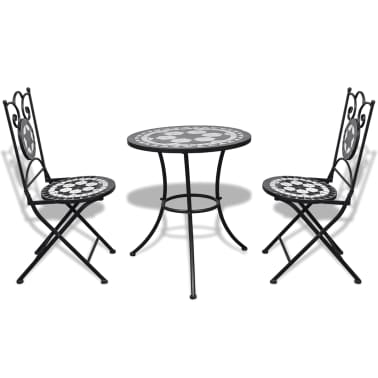 vidaxl mosaik bistrotisch 60 cm mit 2 st hlen schwarz wei. Black Bedroom Furniture Sets. Home Design Ideas