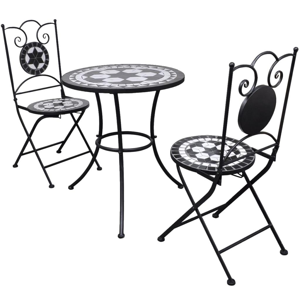 Bistro bord i mosaik med 2 stolar 60 cm Svart och vit