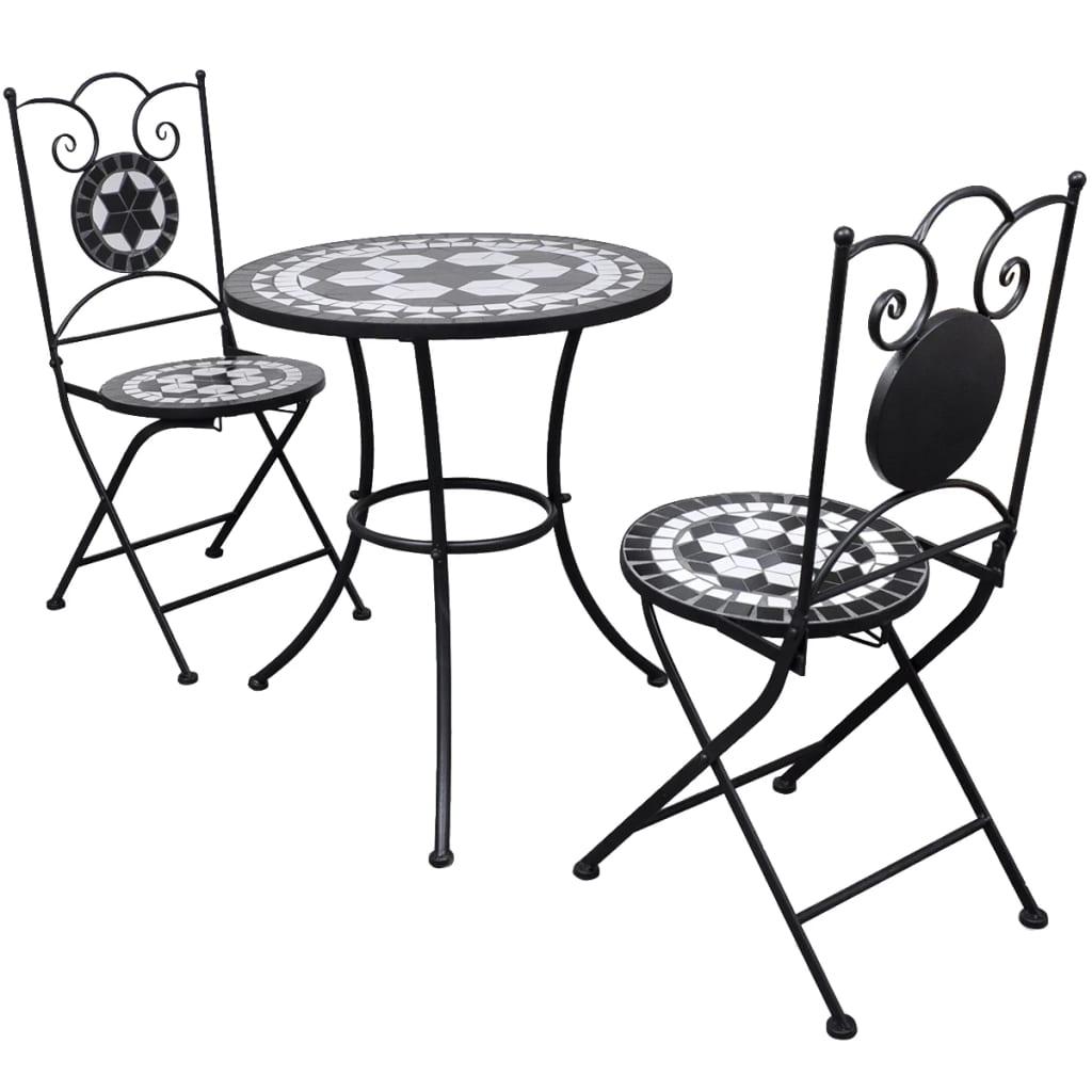 vidaXL Mozaik bisztró asztal 60 cm 2 székkel / kerti bútor fekete fehér