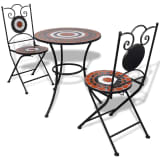 Set de bistro mosaïqué table 60 cm et 2 chaises terre cuite/blanc