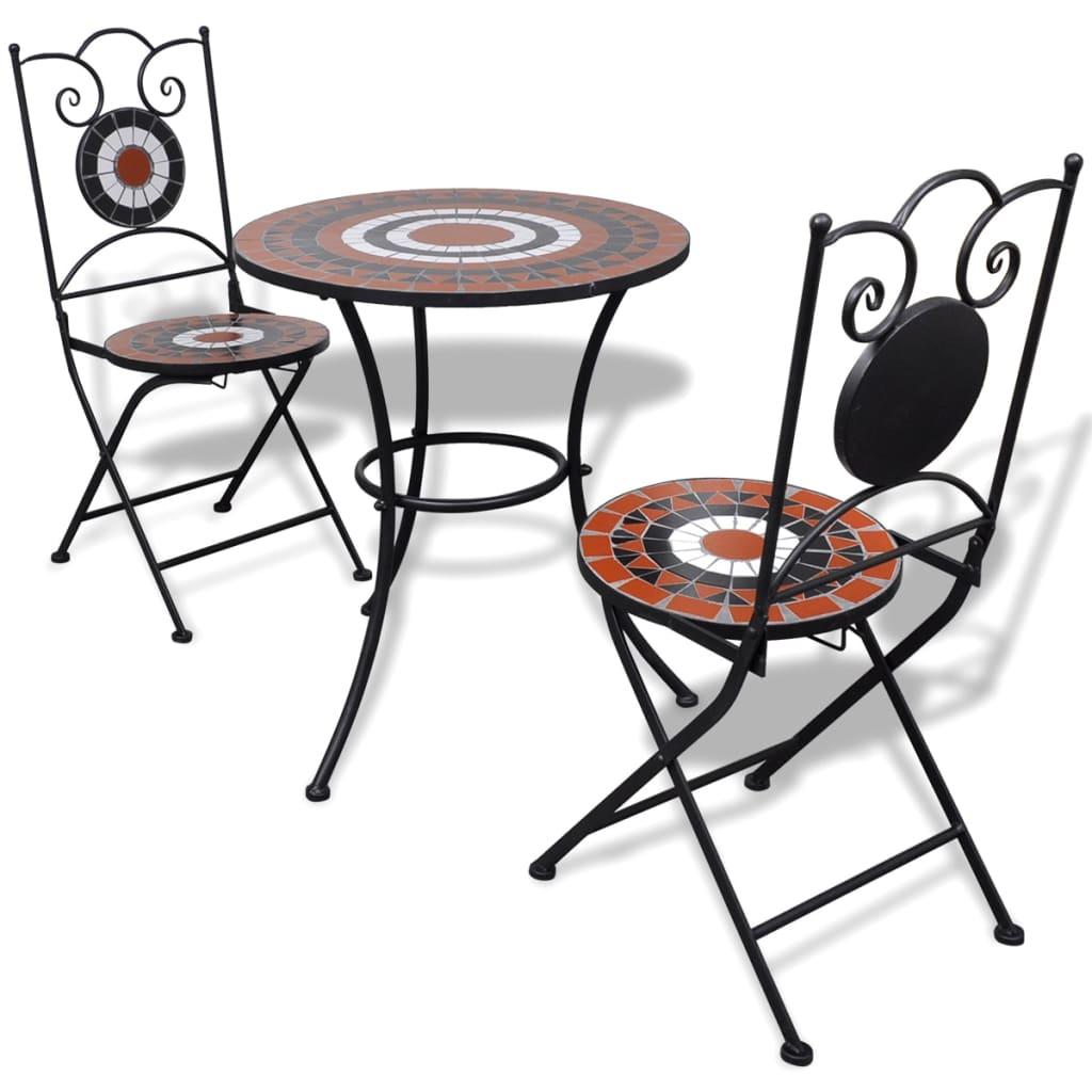 vidaXL Mozaik bisztró asztal 60 cm 2 székkel / kerti bútor terrakotta fehér