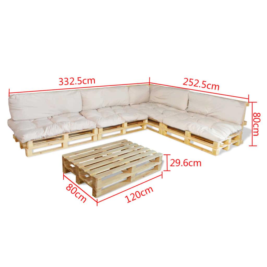 Meble ogrodowe z europalet 15 elementów + 9 białych poduch sklep