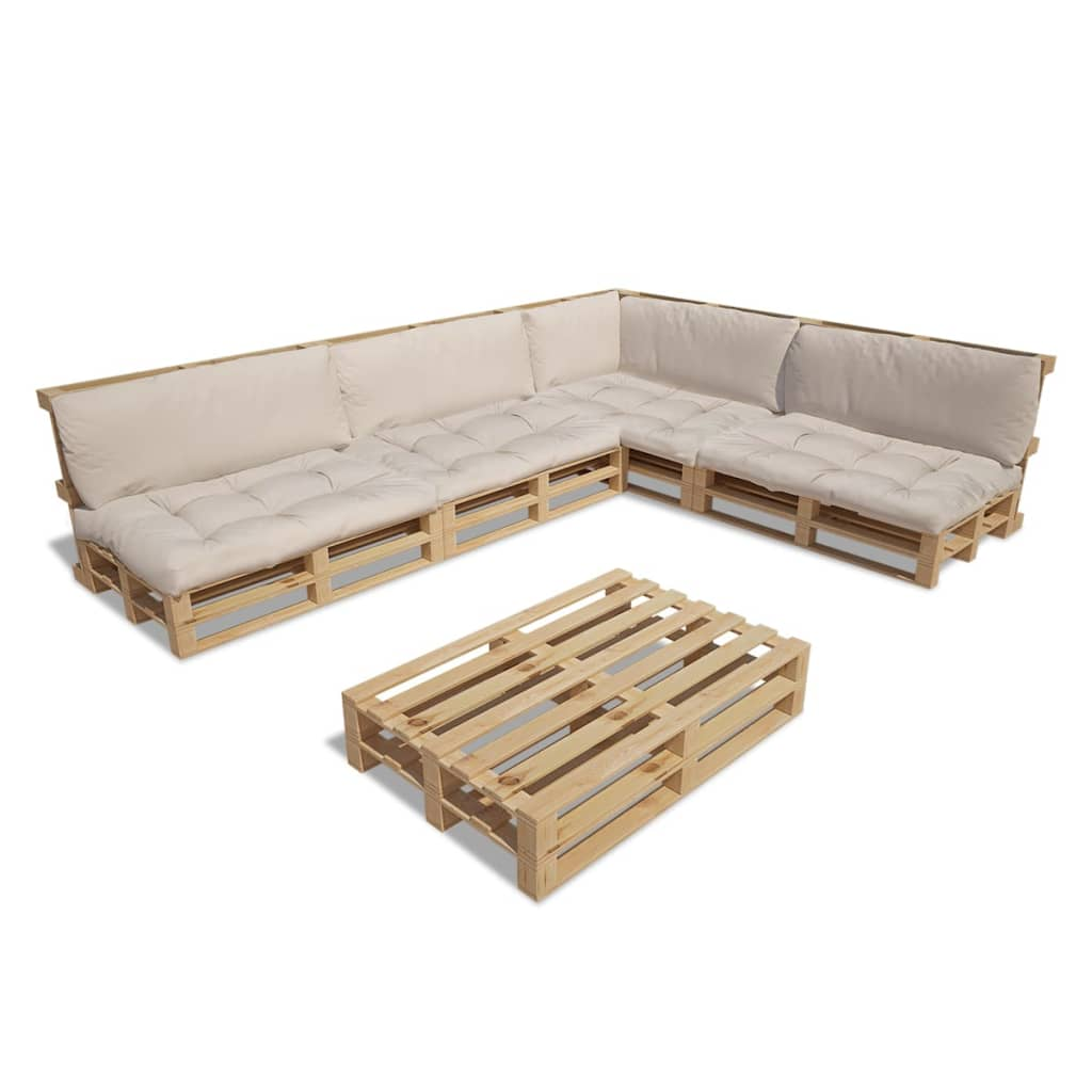 vidaxl 15tlg holz palettenm bel gartenm bel lounge. Black Bedroom Furniture Sets. Home Design Ideas