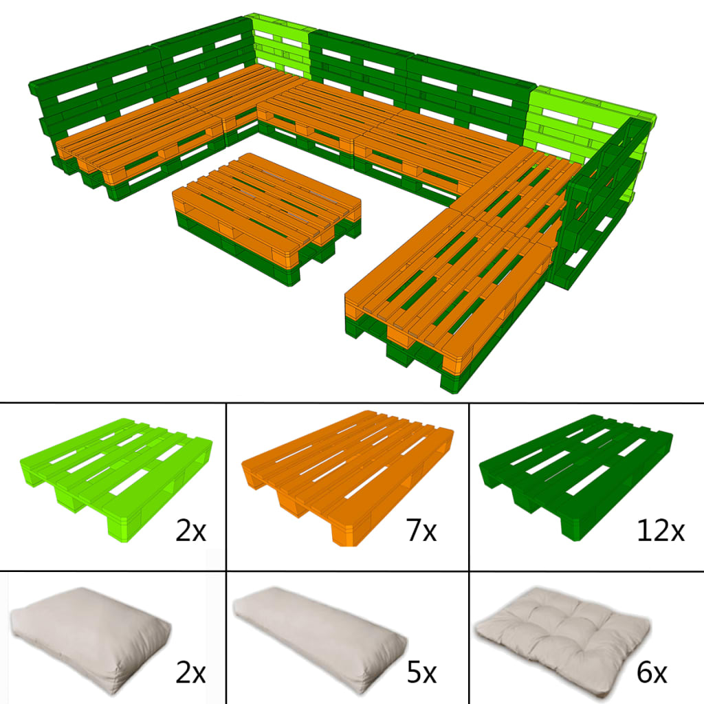 21 tlg au en lounge set aus holzpaletten mit 13 kissen - Holzpaletten gartenmobel ...