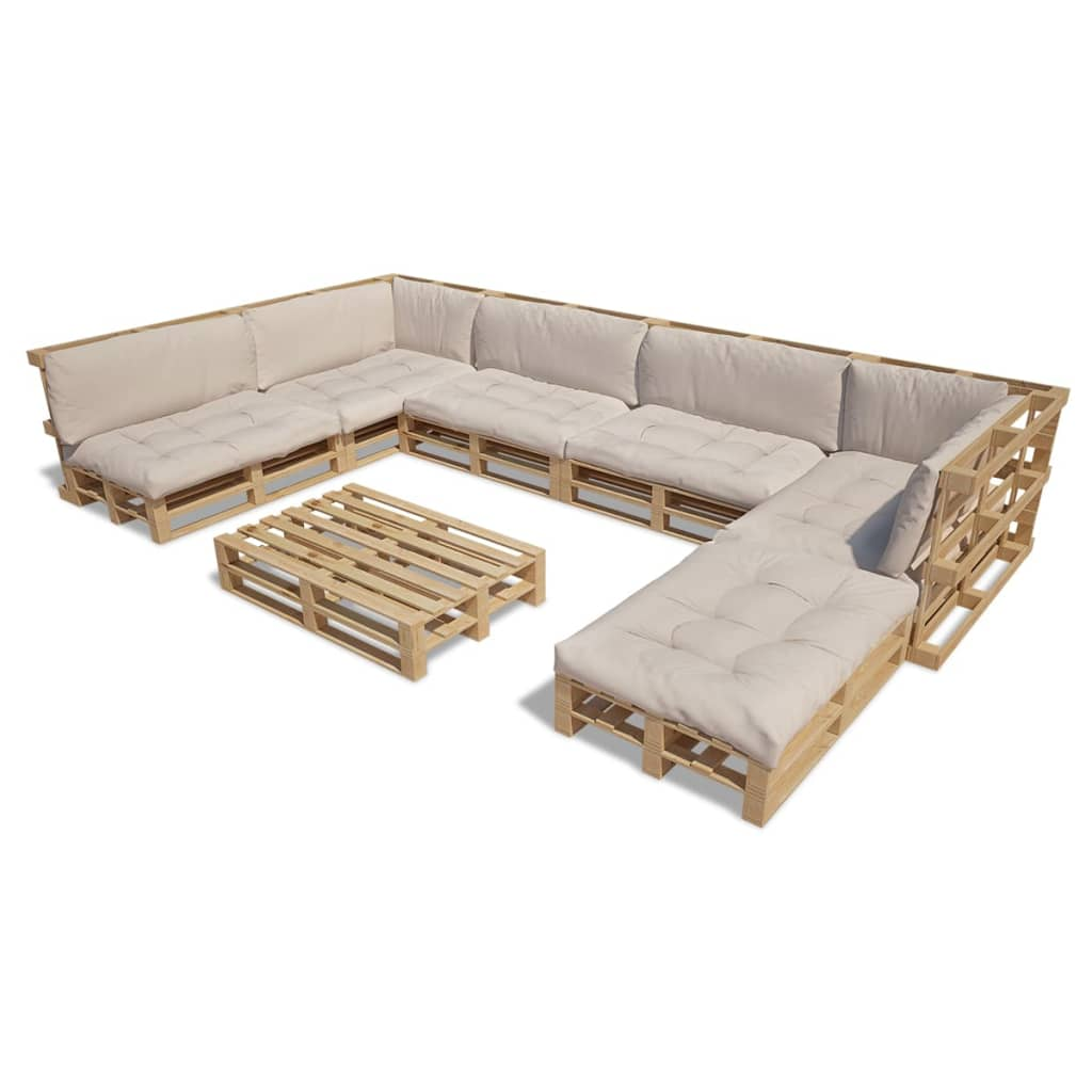 de vidaxl houten pallet lounge set voor buiten met 13 kussens zand wit 21 st online shop. Black Bedroom Furniture Sets. Home Design Ideas