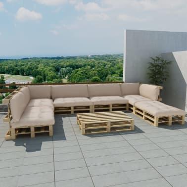 21 tlg au en lounge set aus holzpaletten mit 13 kissen sand wei g nstig kaufen. Black Bedroom Furniture Sets. Home Design Ideas