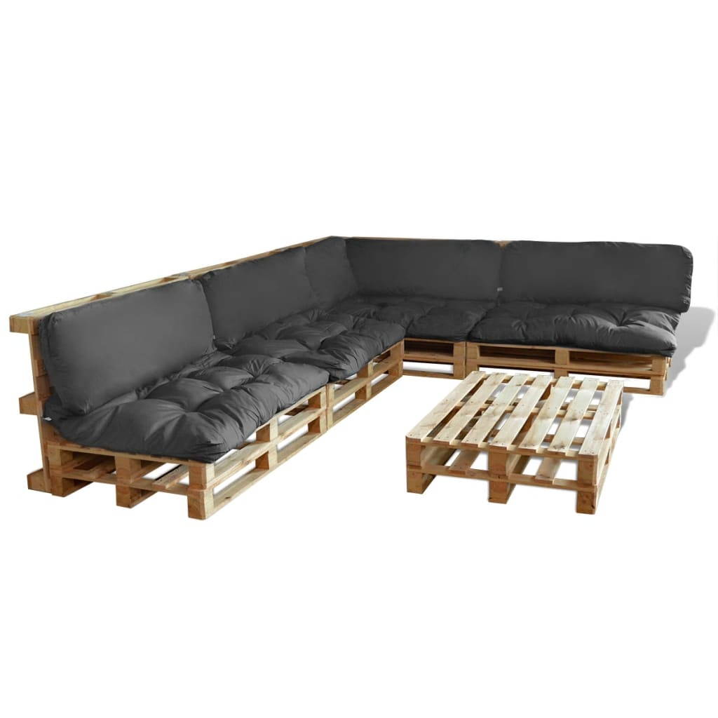 der 15 tlg au en lounge set aus holzpaletten mit 9 kissen grau online shop. Black Bedroom Furniture Sets. Home Design Ideas