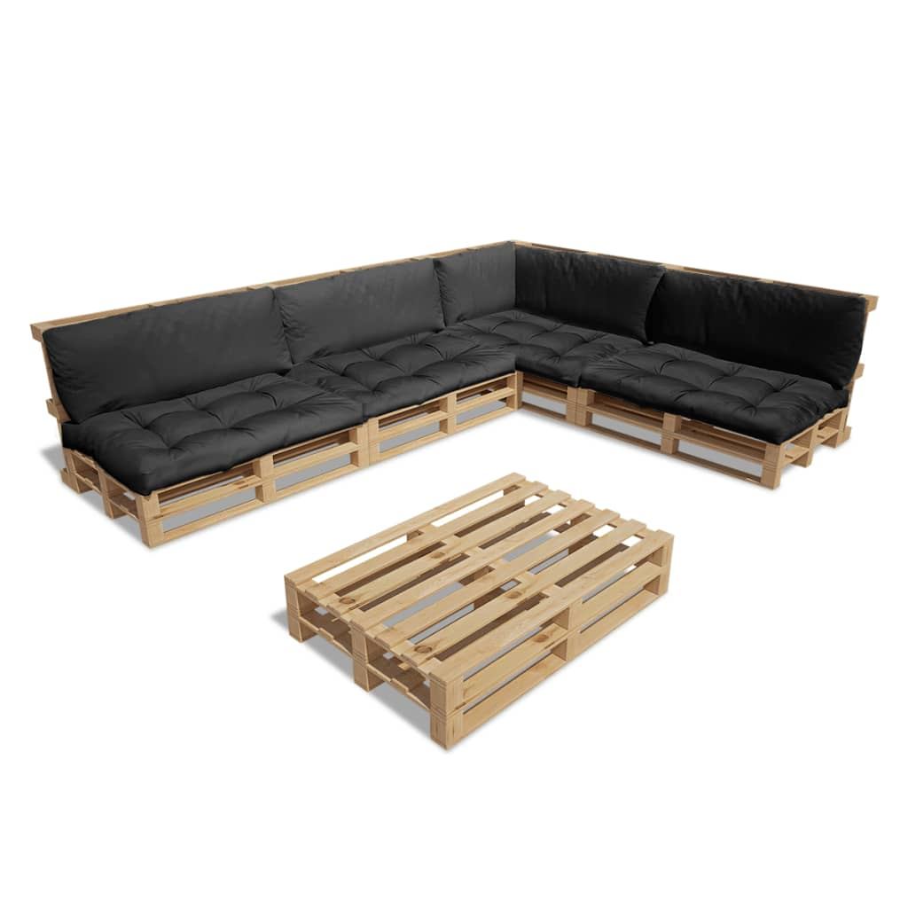 ... Houten pallet loungeset voor buiten met 15 delen + 9 kussens (grijs