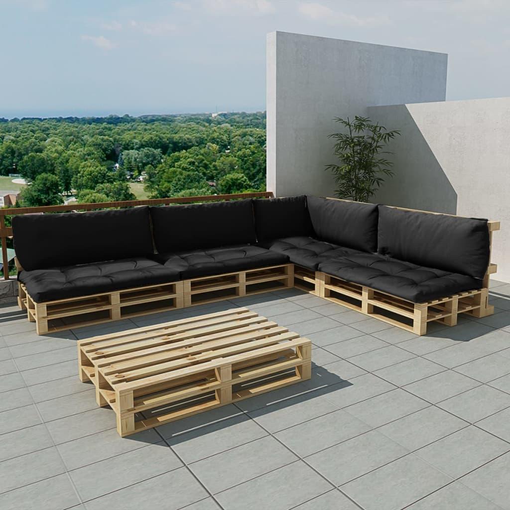 vidaXL nl   Houten pallet lounge set voor buiten met 15 delen + 9 kussens (grijs)