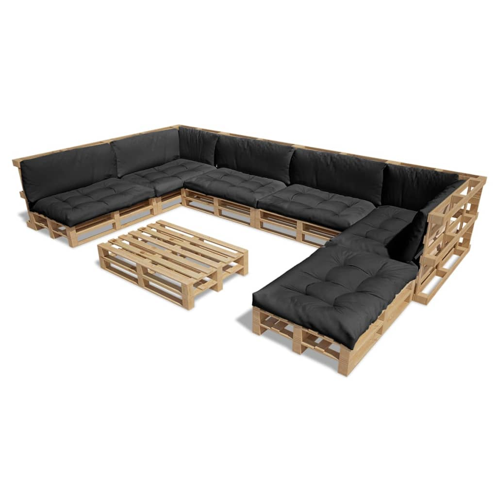 acheter vidaxl ensemble salon d 39 ext rieur palette avec 13. Black Bedroom Furniture Sets. Home Design Ideas
