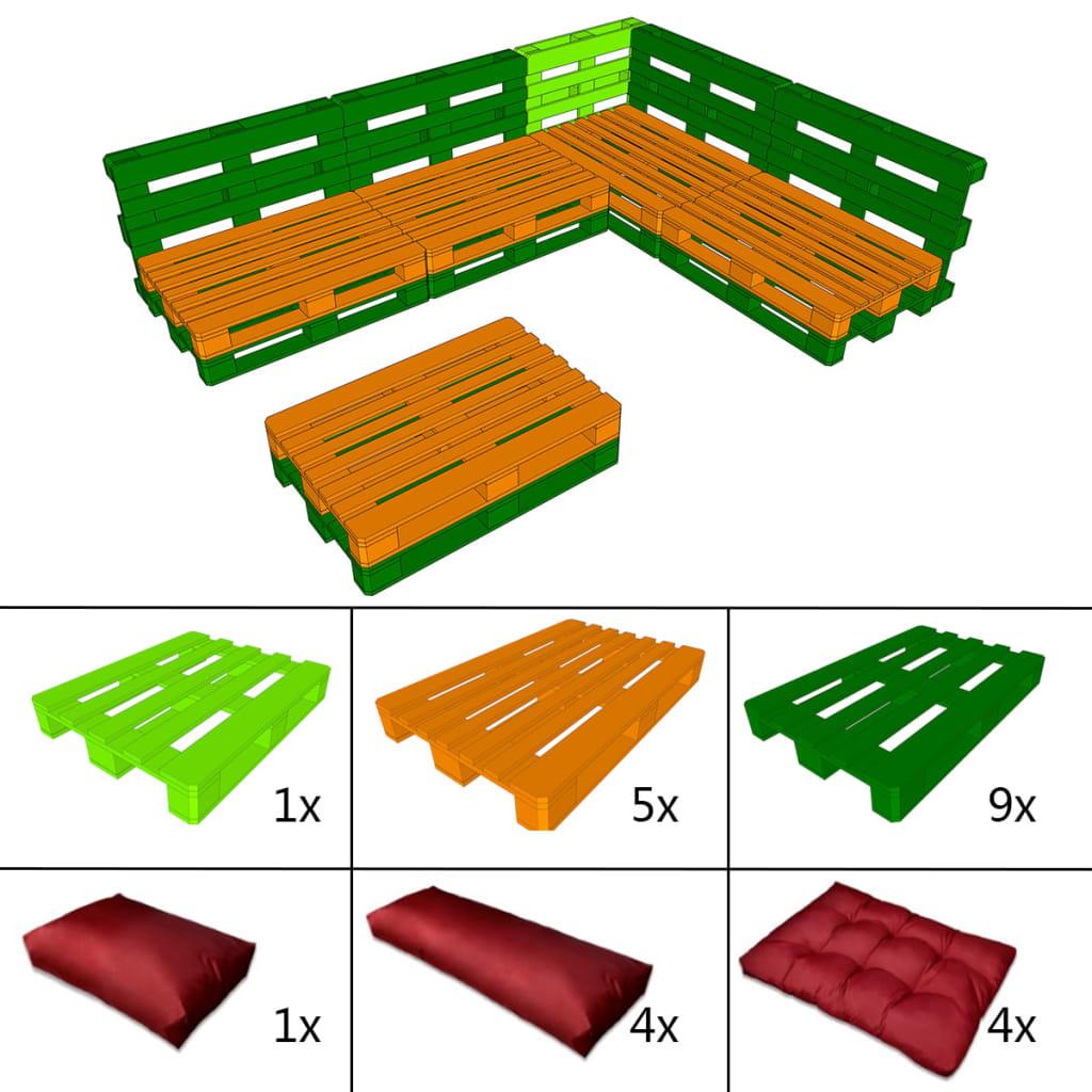 Meble Ogrodowe Vidaxl : Meble ogrodowe z europalet 15 elementów + 9 czerwonych poduch sklep