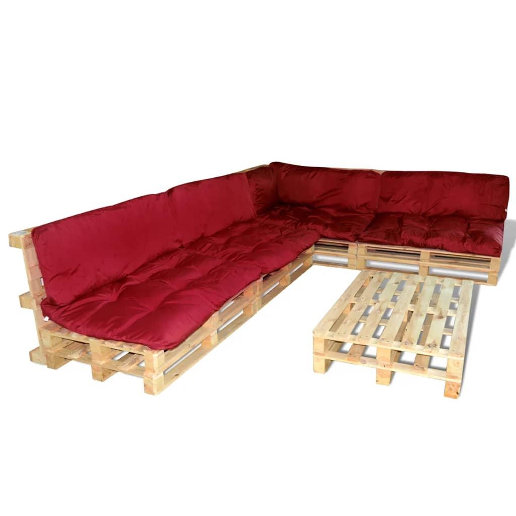 Set 15 pz seduta da giardino con pallet in legno 9 cuscini rosso vino ...