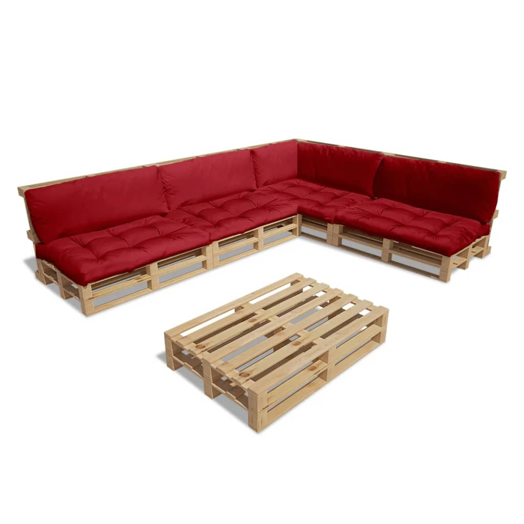 vidaxl ensemble salon d 39 ext rieur de jardin palette avec 9 coussins rouge 15 pcs ebay. Black Bedroom Furniture Sets. Home Design Ideas