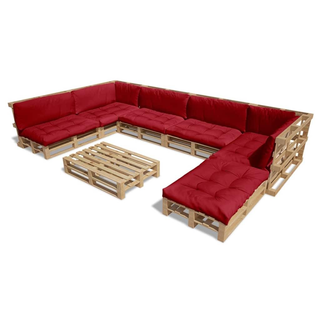 21 tlg au en lounge set aus holzpaletten mit 13 kissen weinrot g nstig kaufen. Black Bedroom Furniture Sets. Home Design Ideas