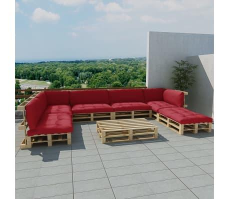 der 21 tlg au en lounge set aus holzpaletten mit 13 kissen weinrot online shop. Black Bedroom Furniture Sets. Home Design Ideas