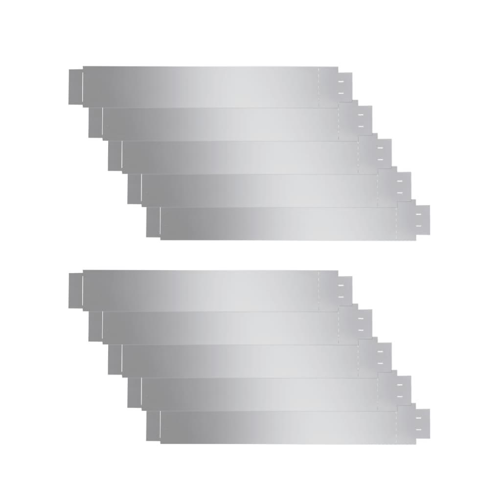 Afbeelding van vidaXL Grasboord flexibel 100x15 cm 10 stuks gegalvaniseerd staal