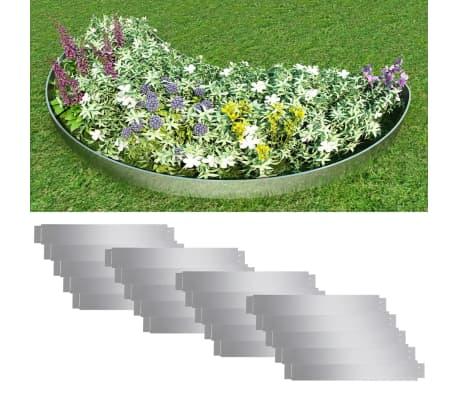 Set de 20 Clôtures de pelouse flexibles en acier galvanisé 100 x 15 cm