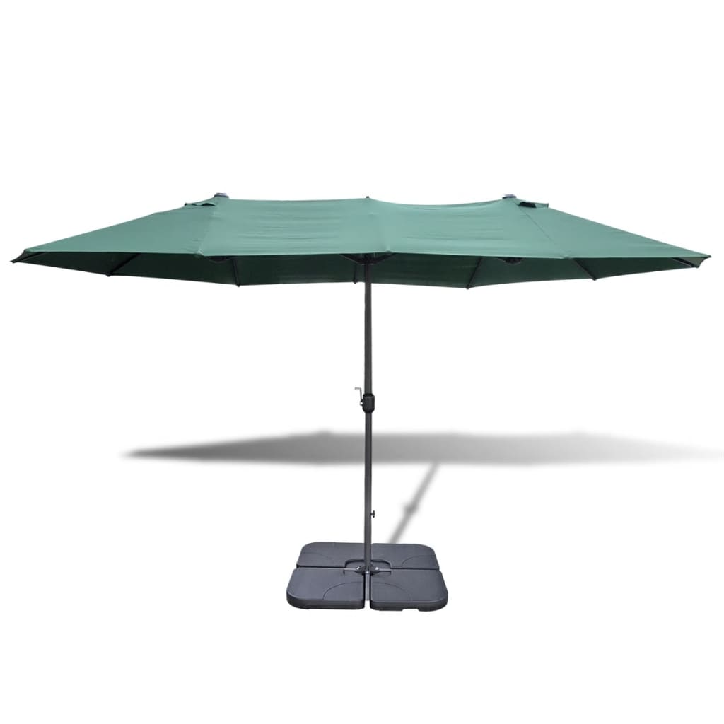la boutique en ligne parasol vert en aluminium avec base portable 2 7 x 4 6 m. Black Bedroom Furniture Sets. Home Design Ideas