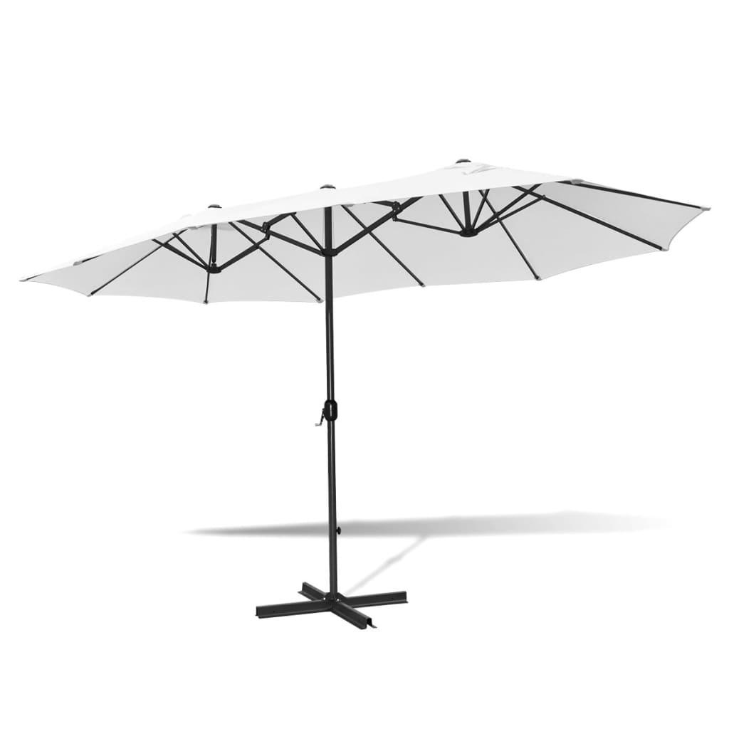 la boutique en ligne parasol blanc sable en aluminium avec base portable 2 7 x 4 6 m. Black Bedroom Furniture Sets. Home Design Ideas
