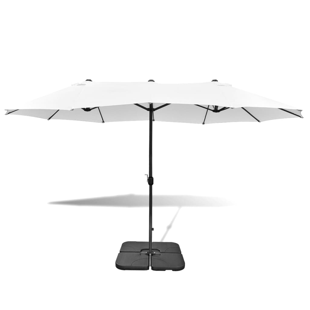 acheter parasol blanc sable en aluminium avec base portable 2 7 x 4 6 m pas cher. Black Bedroom Furniture Sets. Home Design Ideas