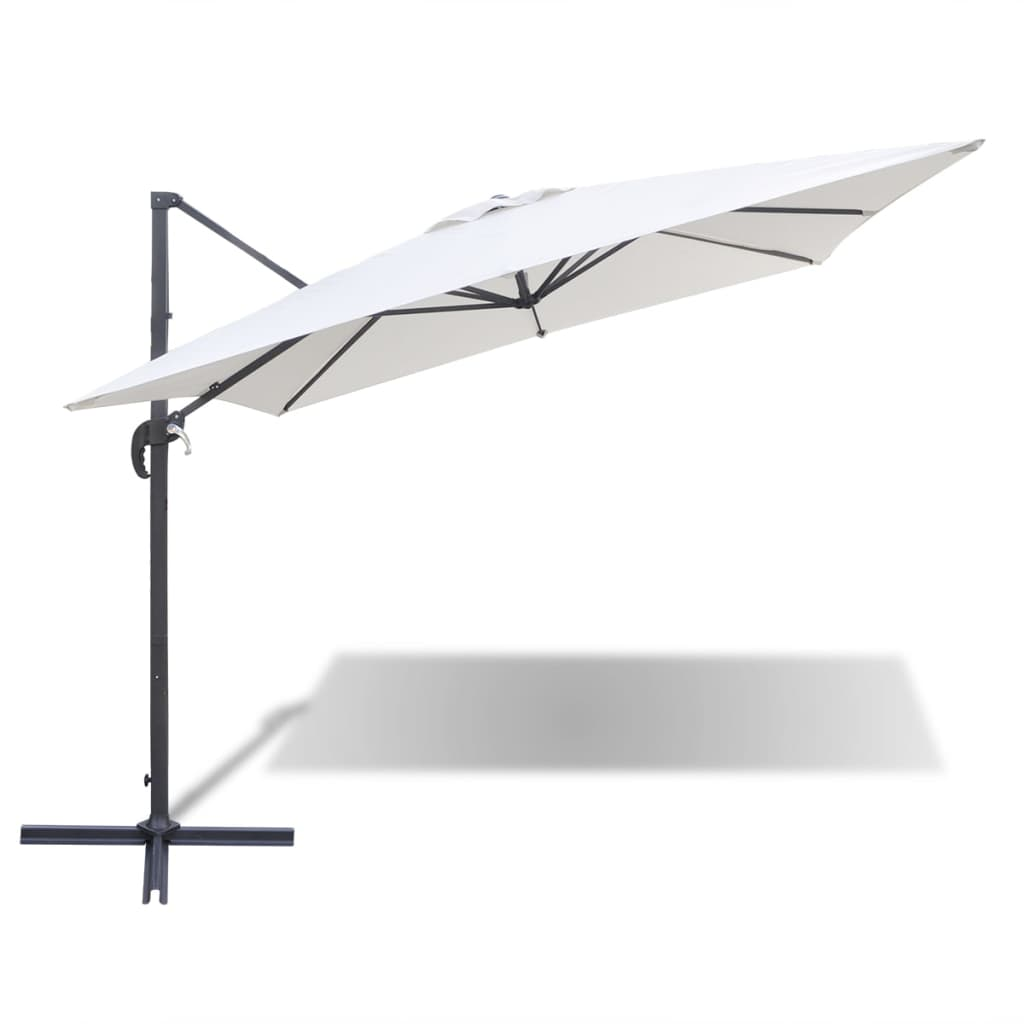 acheter parasol d port blanc sable en aluminium avec base portable 2 5 x 2 5m pas cher. Black Bedroom Furniture Sets. Home Design Ideas
