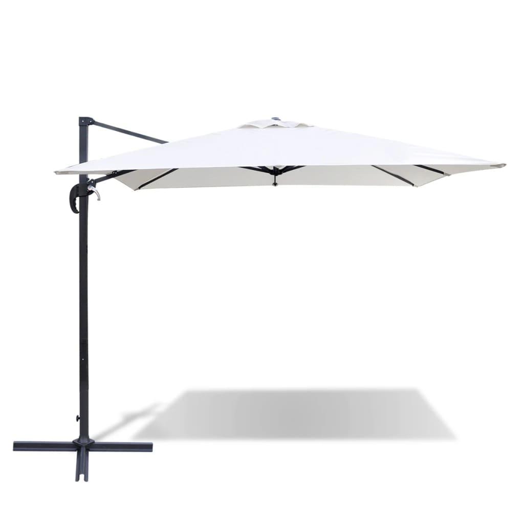 acheter parasol d port blanc sable en aluminium avec base portable 2 5 x 2 5m pas cher. Black Bedroom Furniture Sets. Home Design Ideas