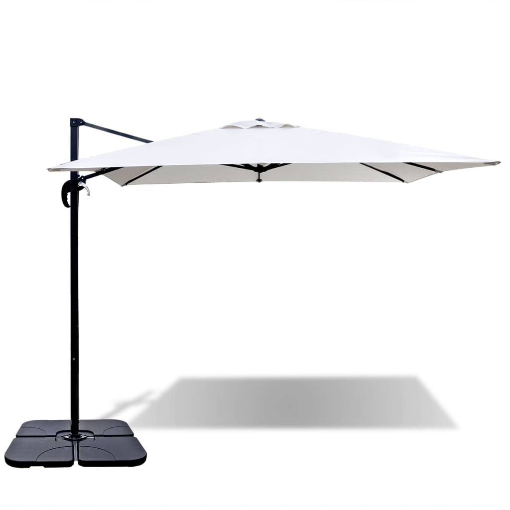 la boutique en ligne parasol d port blanc sable en aluminium avec base portable 2 5 x 2 5m. Black Bedroom Furniture Sets. Home Design Ideas