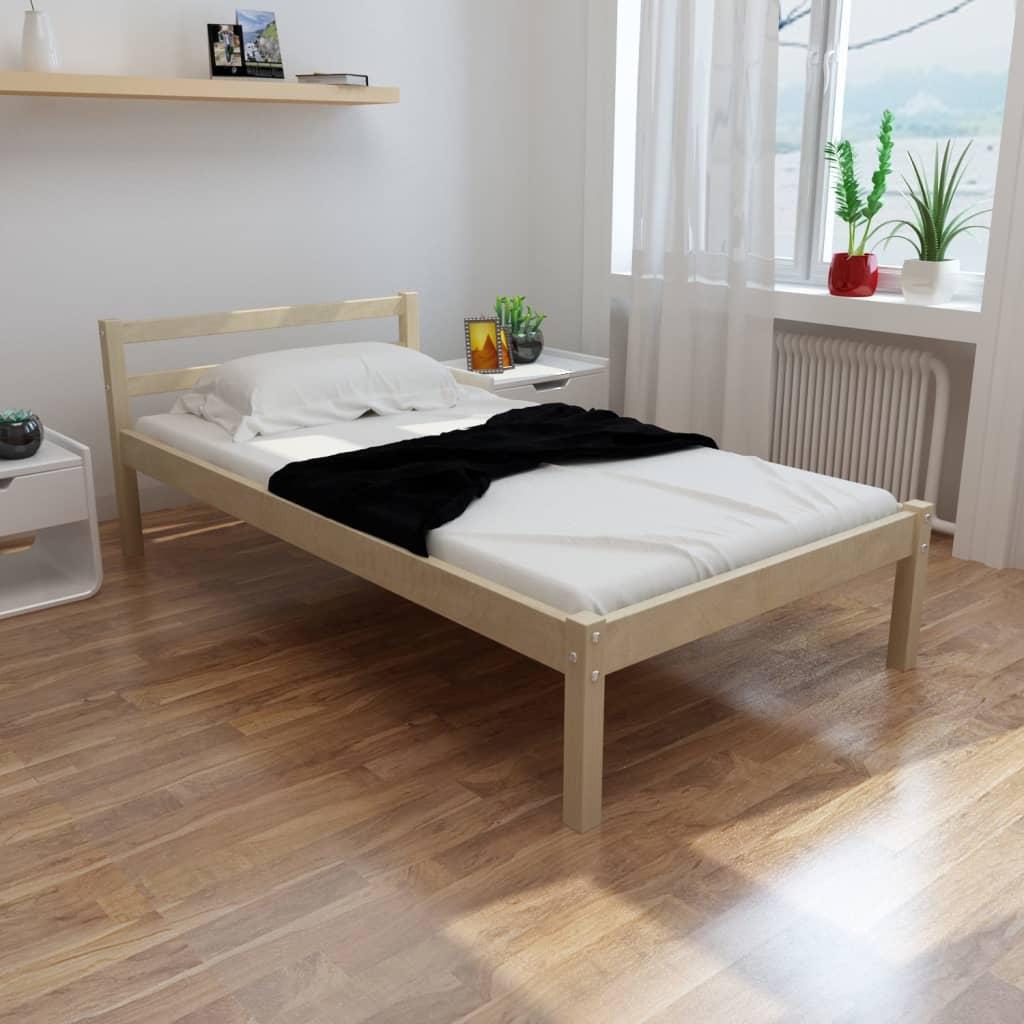vidaXL tömör fenyőfa ágy matraccal 90 x 200 cm