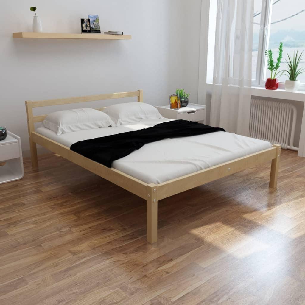 vidaXL tömör fenyőfa ágy matraccal 140 x 200 cm