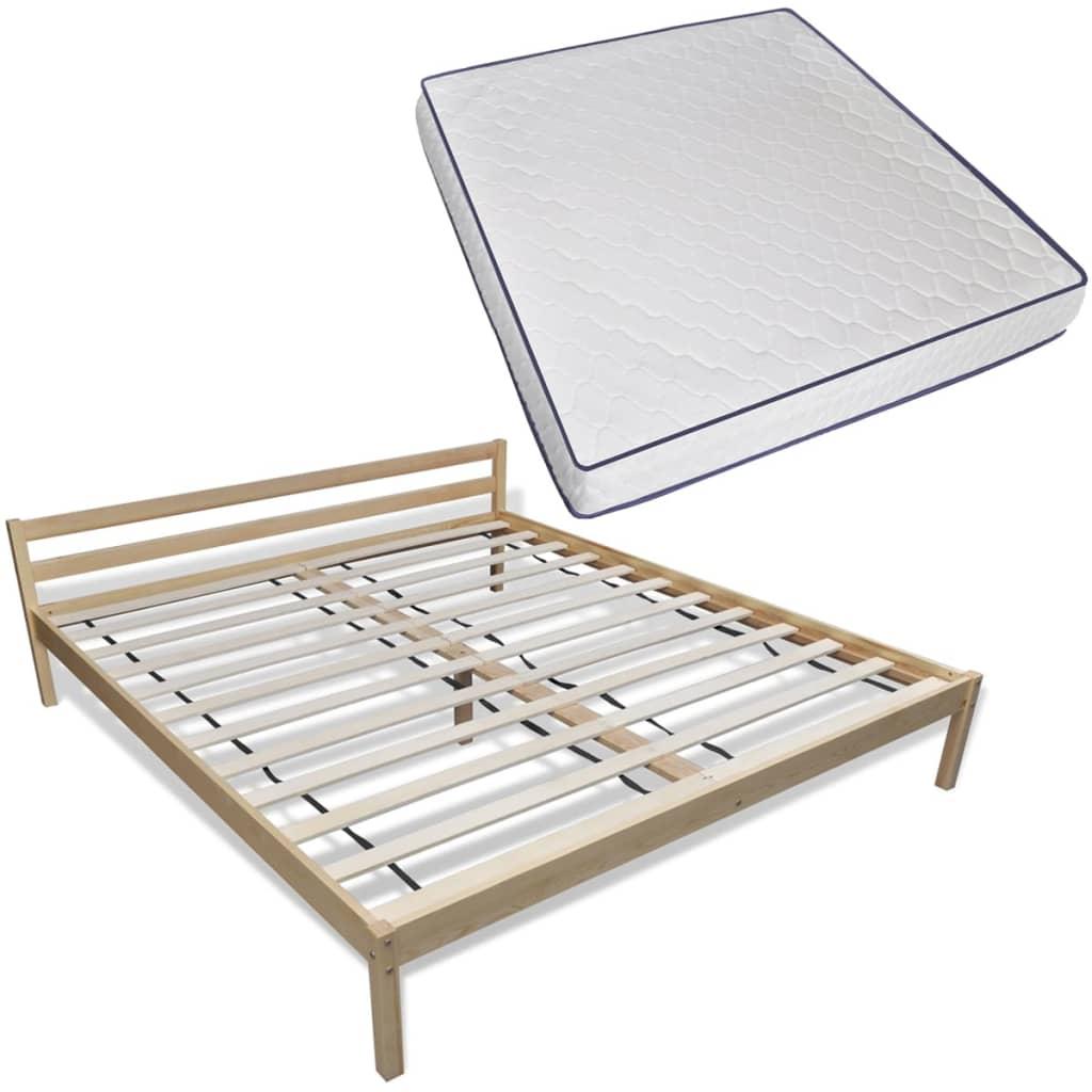 vidaXL Bed van dennenhout 200 x 180 cm met traagschuim matras