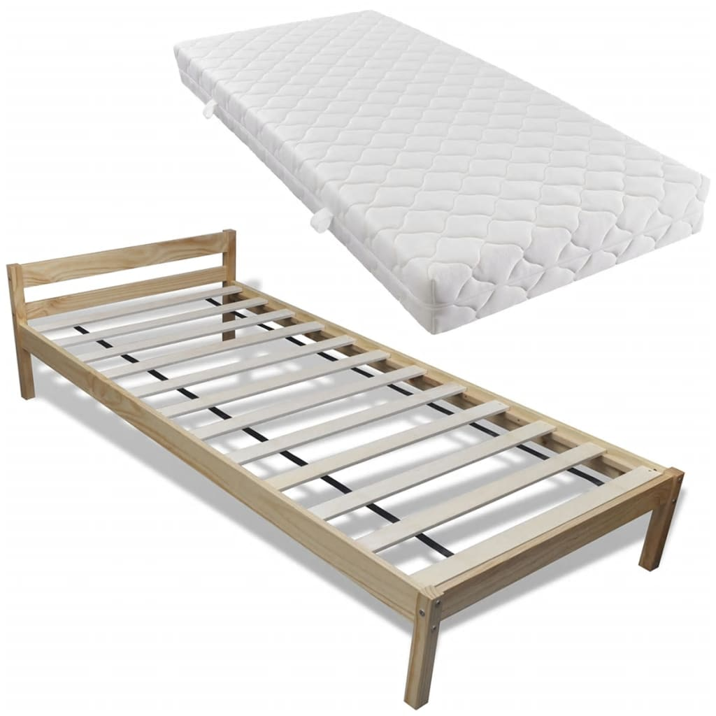 vidaXL Bed van dennenhout 200 x 90 cm met matras