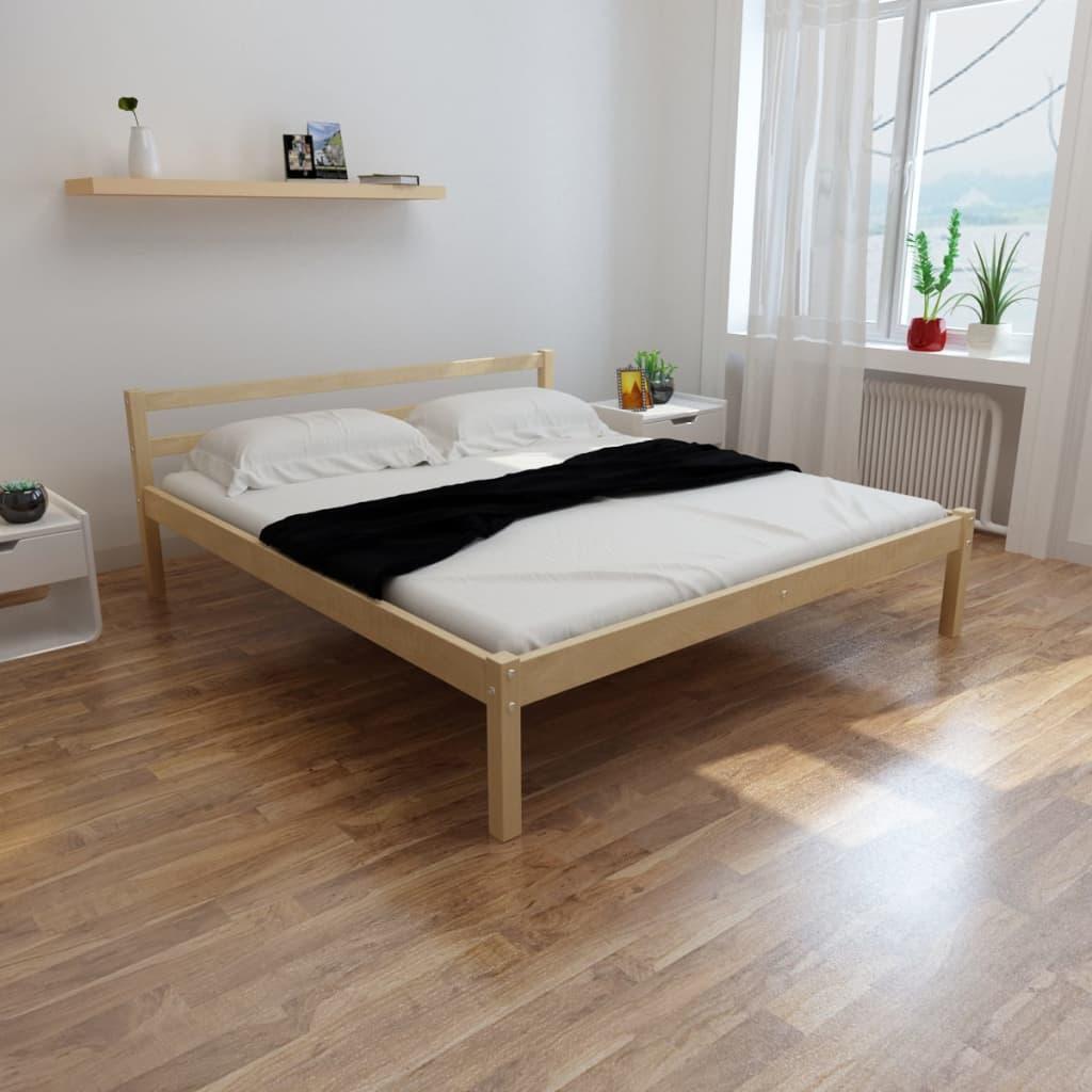 vidaXL Fenyőfa ágy matraccal 200 x 180 cm