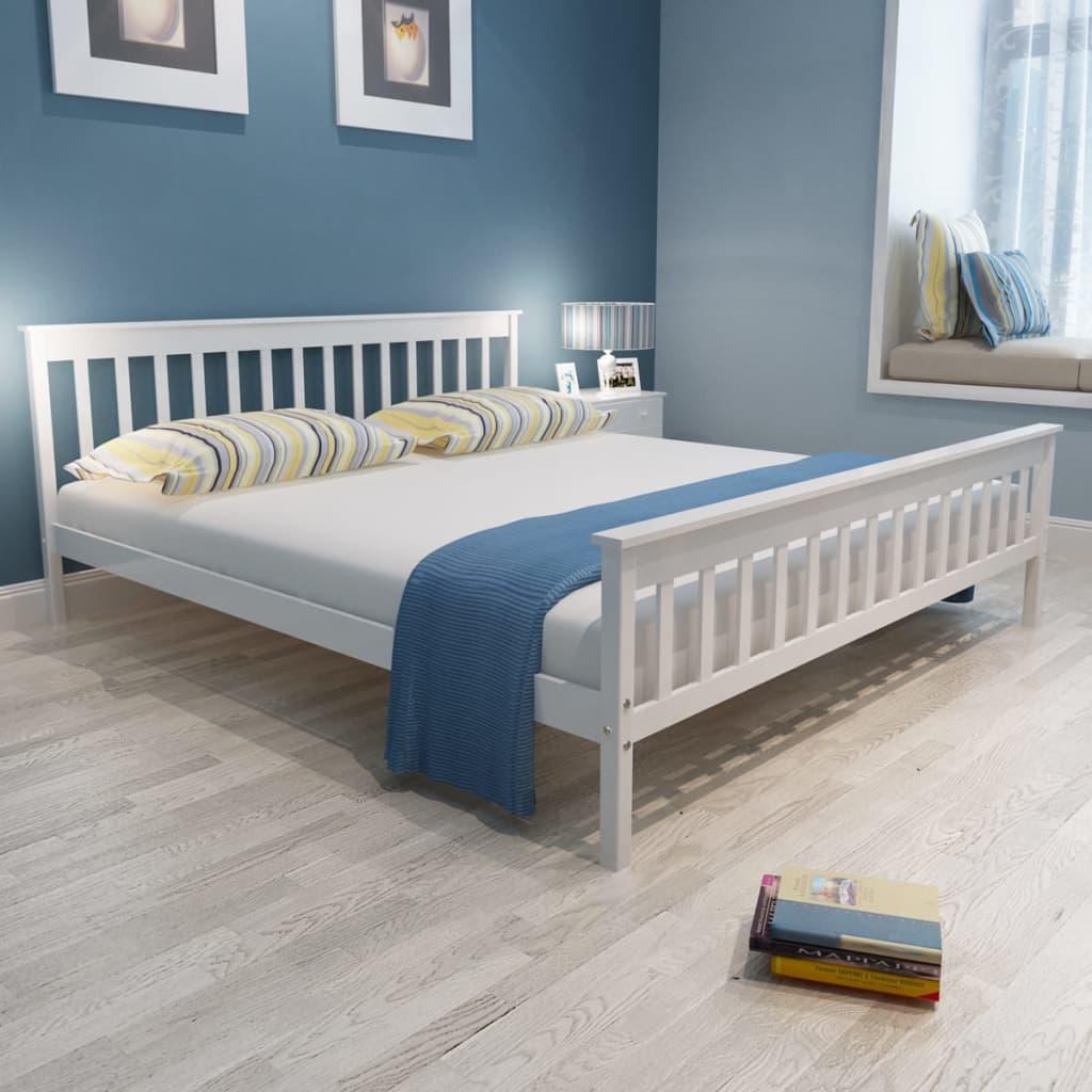 vidaXL Fenyőfa ágy matraccal 200 x 180 cm fehér