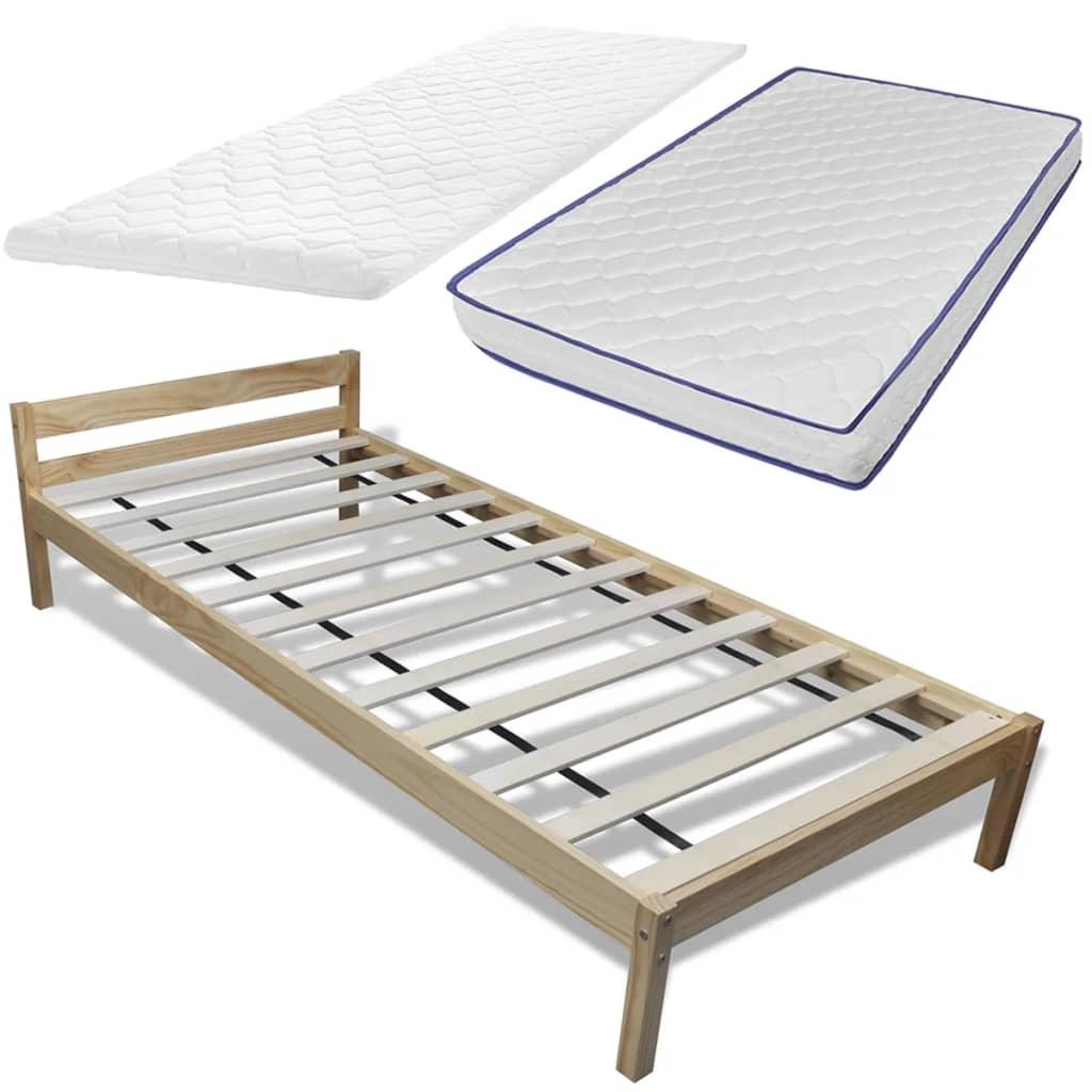 acheter lit en pin 90 cm avec matelas et surmatelas. Black Bedroom Furniture Sets. Home Design Ideas