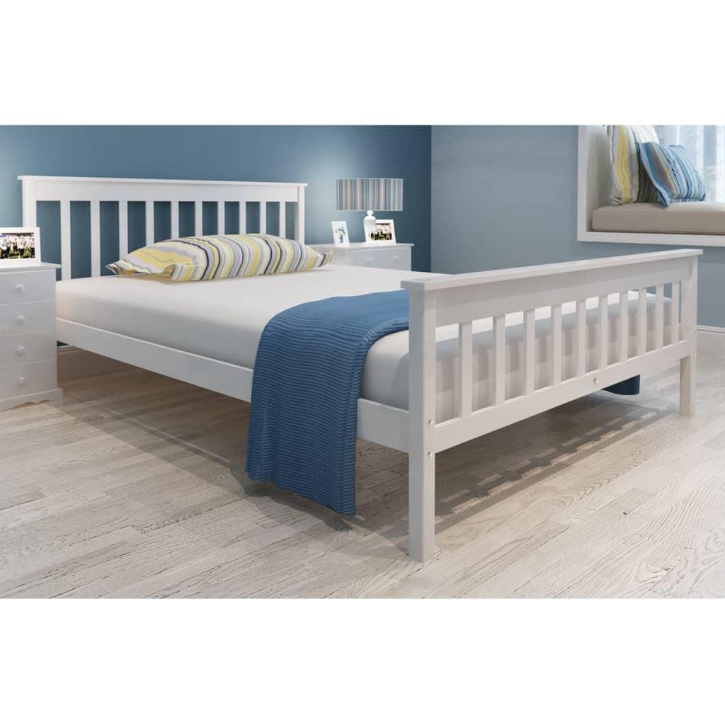 Cama blanca de madera de pino 140 cm colch n for Cama blanca