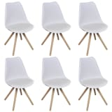 6 pcs White Artificial Leather Dining Chairs