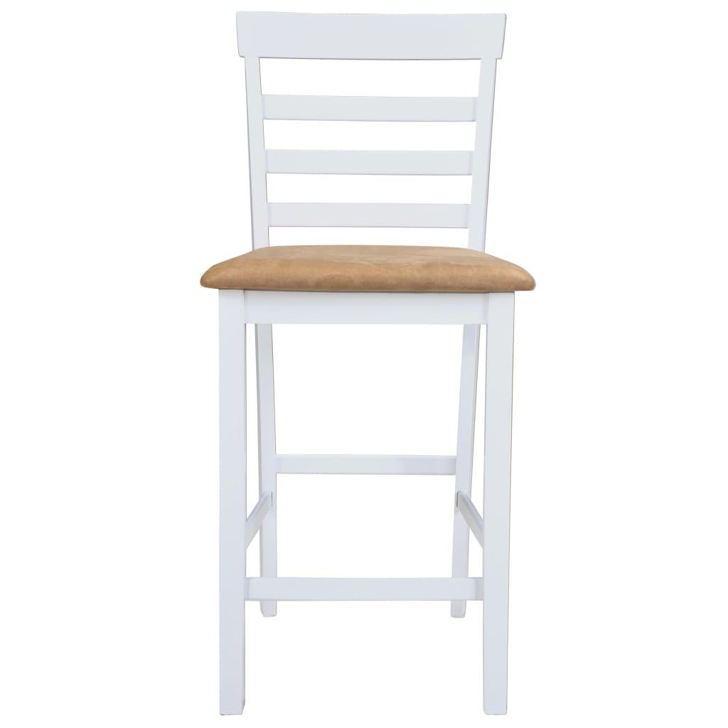 Mesa de bar y 4 taburetes de barra madera blanca for Mesas de bar de madera