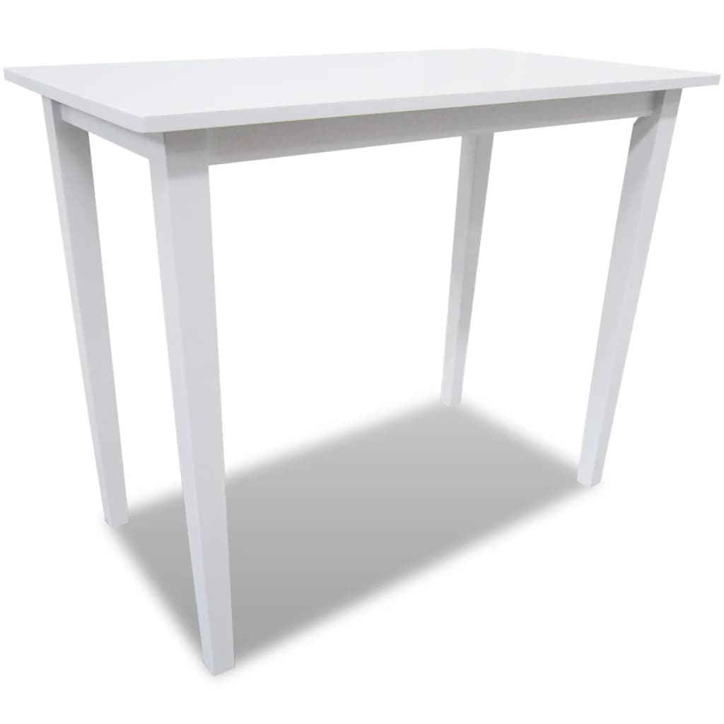 Set mesa de bar de madera con 4 sillas blanco tienda for Sillas de madera para bar