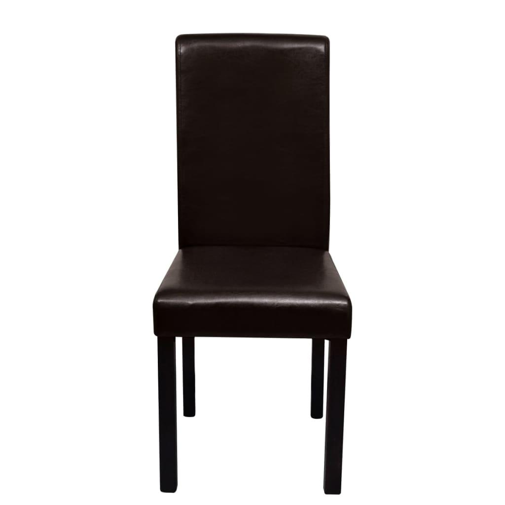 Acheter set de 6 chaises de salle manger marron en cuir for Salle a manger en solde