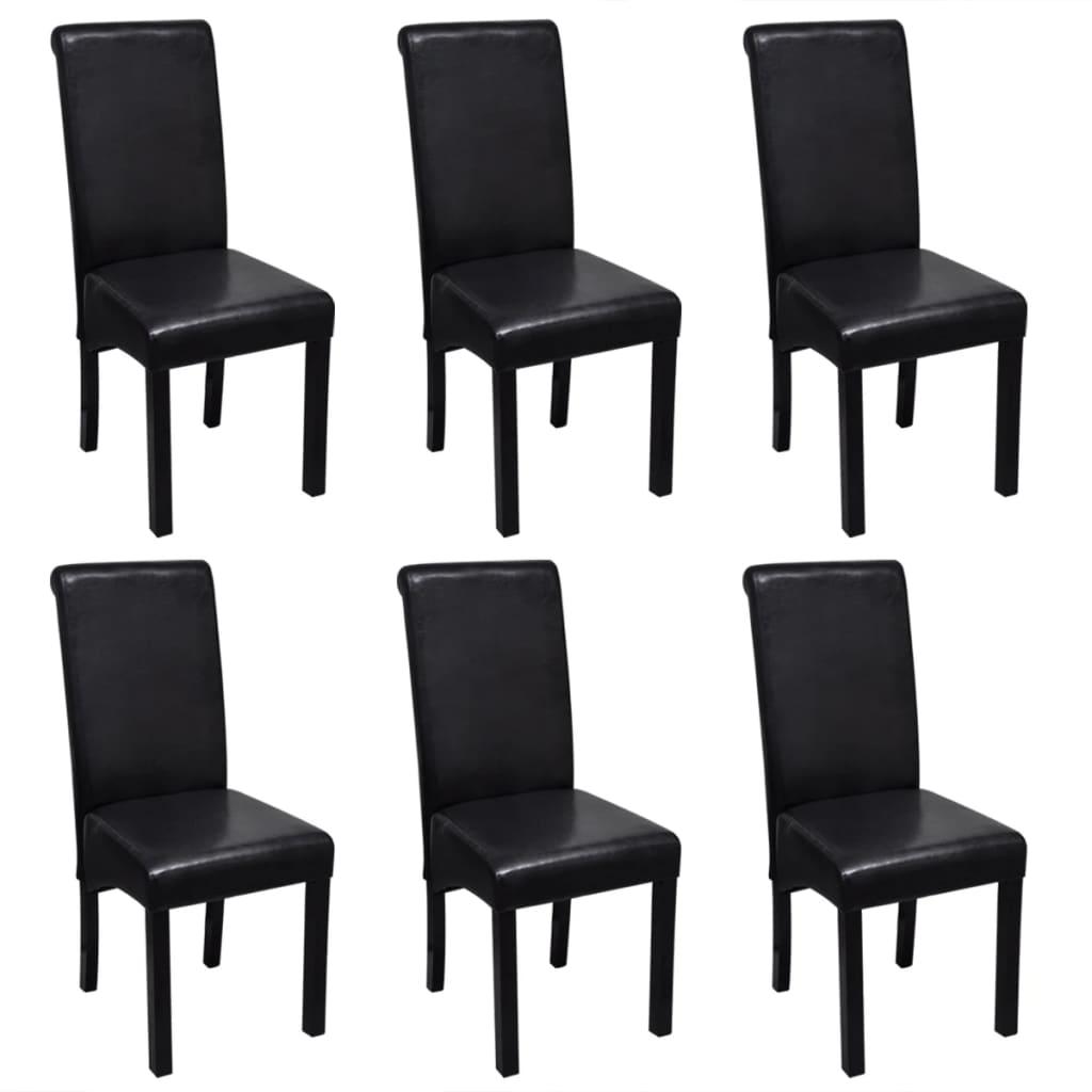 Esszimmerstuhl kunstleder schwarz 6er set g nstig kaufen for Esszimmerstuhle kunstleder