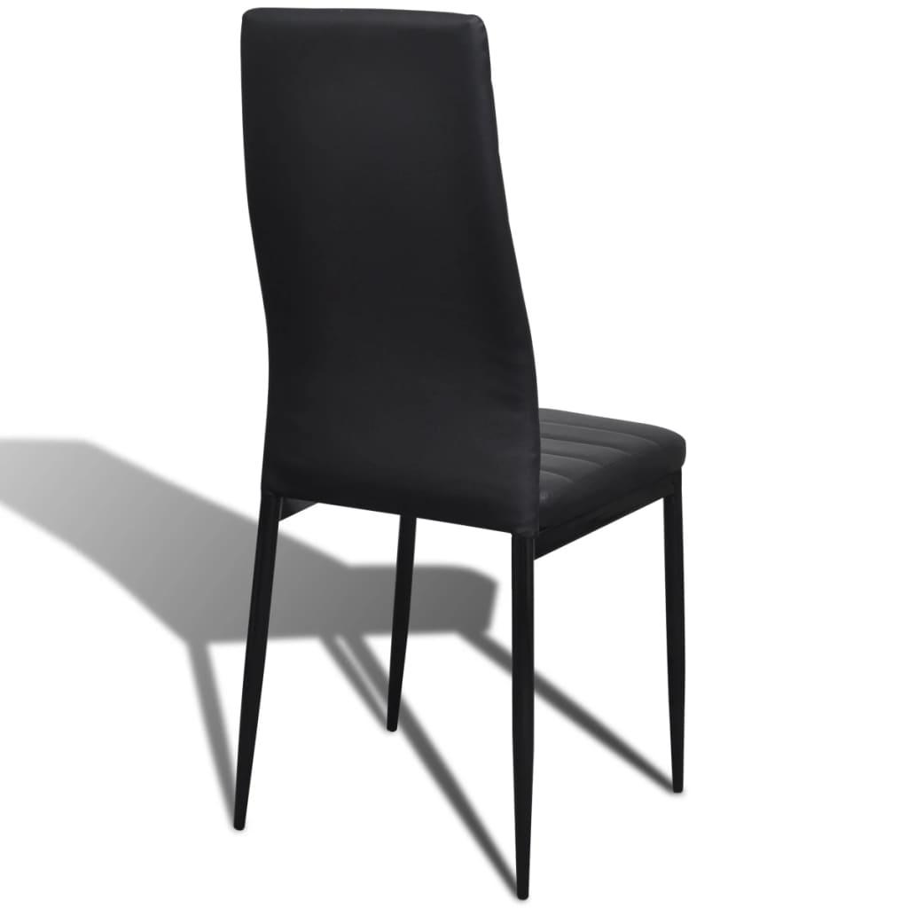 6 Dining Chairs: 6 Pcs Black Slim Line Dining Chair