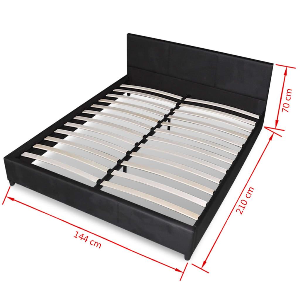 acheter lit noir en cuir artificiel 140 x 200 cm avec matelas pas cher. Black Bedroom Furniture Sets. Home Design Ideas