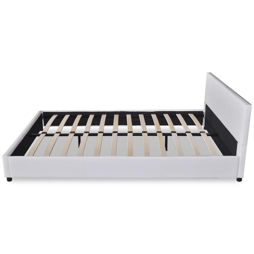 acheter lit blanc en cuir artificiel 140 x 200 cm avec matelas pas cher. Black Bedroom Furniture Sets. Home Design Ideas