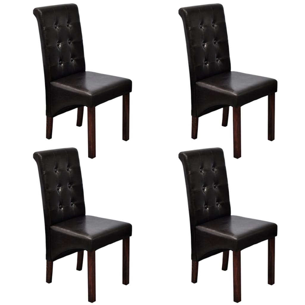 4 pcs artificial leather wood dark brown dining chair for Wood and leather dining chair