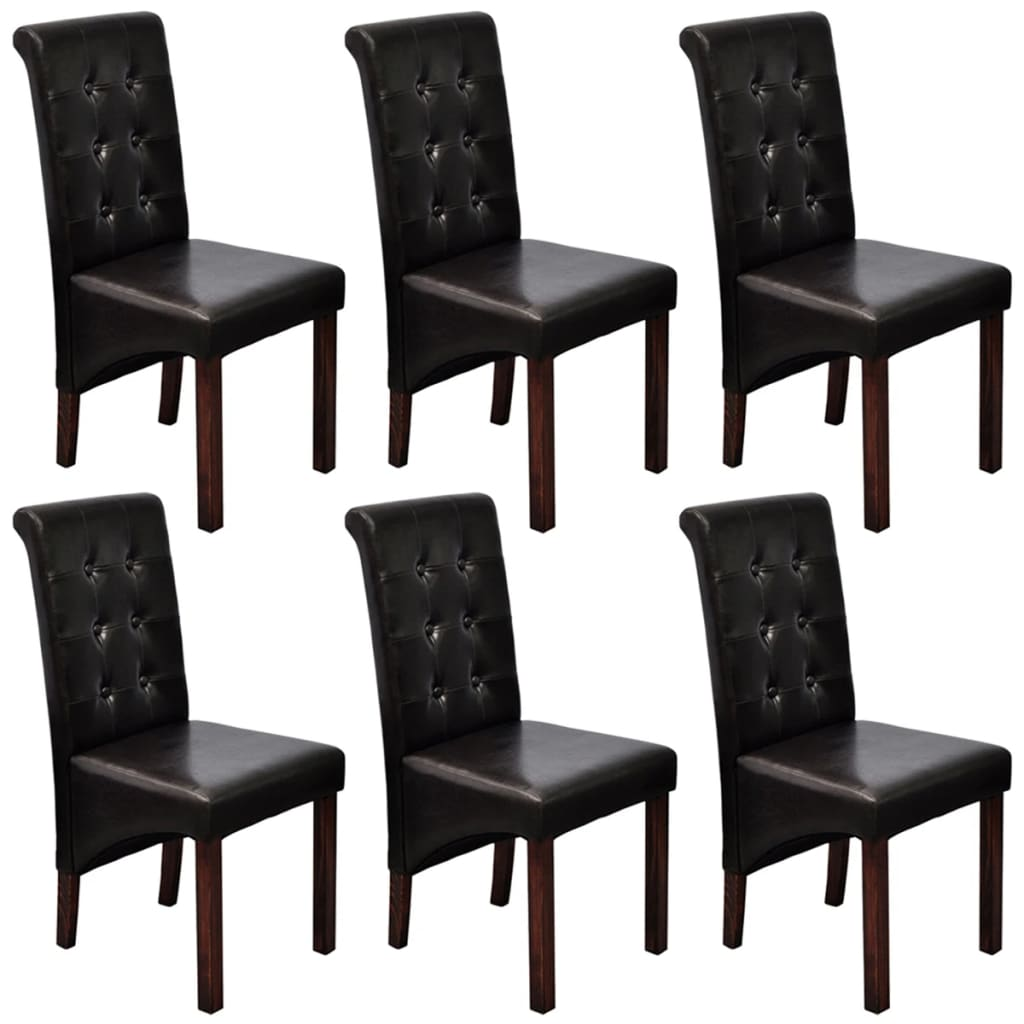 6 pcs artificial leather wood dark brown dining chair. Black Bedroom Furniture Sets. Home Design Ideas